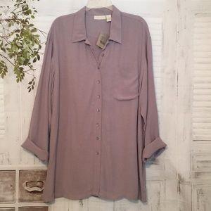 J. Jill lavender button down tunic shirt sz Large